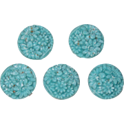 Vintage Japanese Turquoise Blue Floral Molded Glass Button Covers