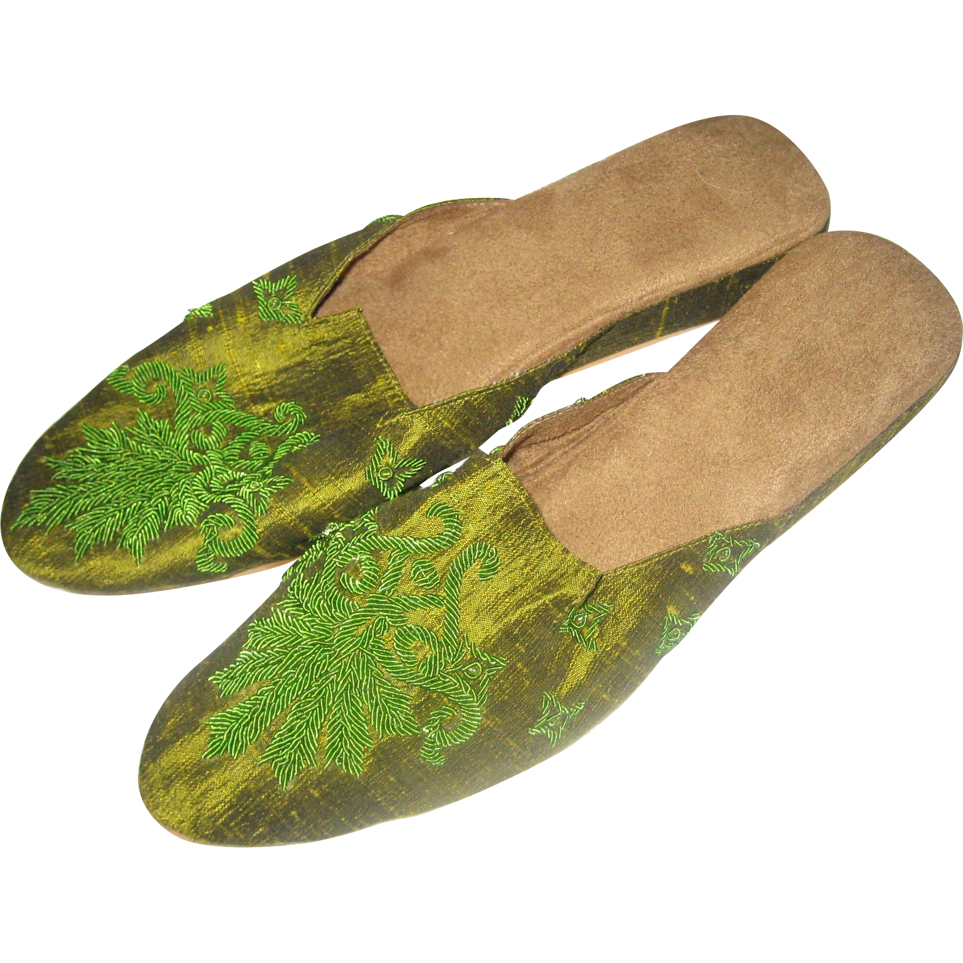 Embroidered Green Slippers or Mules from India - Size 8