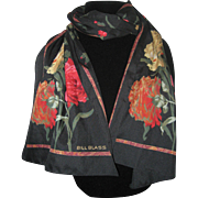 Bill Blass 1990's Oblong Scarf with Peonies or Carnations