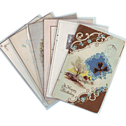 Six Vintage Birthday Greeting Postcards with Forget-Me-Nots - 1910 - 1916
