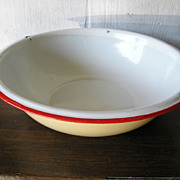 Yellow & White Enamelware Bowl