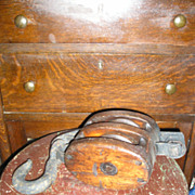 Wood Block Pulley with Cast Iron Hanger