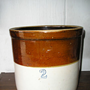 Stoneware Crock-Two Gallon-Stenciled-Brown & White