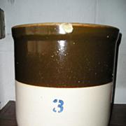 Stoneware Crock 3 Gallon Brown & White