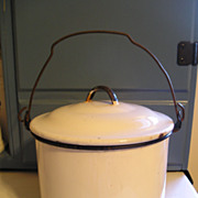 White Enamelware Berry Pot