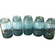Blue and Green Glass Atlas Mason Jars