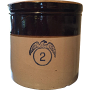 Stoneware Crock with Stenciled Eagle and 2 Gallon