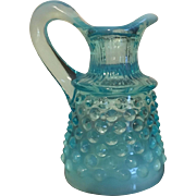 Opalescent Blue Glass Cruet-Hobnail Pattern