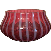 Striped Cranberry Glass Bowl