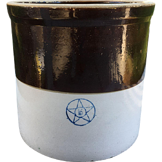 Stoneware Crock-Brown and Tan with Blue 5 and Star