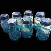 Blue Glass Ball Mason Jars with Zinc Lids