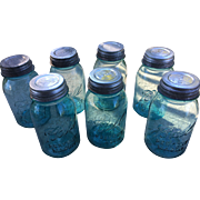 Blue Glass Ball Mason Jars with Zinc Lids