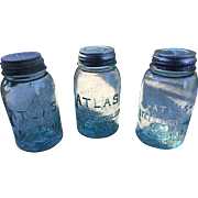 Atlas Blue Glass Mason Jars with Zinc Lids