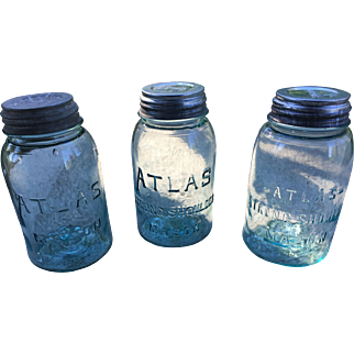 Atlas Blue Glass Mason Jars with Zinc Lids