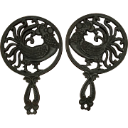 Pair of Cast Iron Rooster Trivets