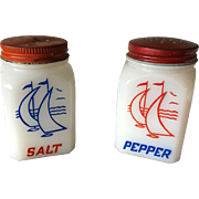 Milk Glass Salt and Pepper Set with Sailboats