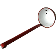 Red and White Enamelware Ladle