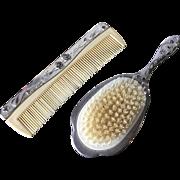 Vanity Hairbrush and Comb Set