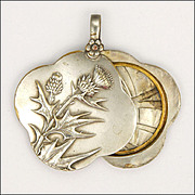 French Art Nouveau Silver Plated Thistle Slide Pendant