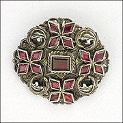 English Silver Almandine Garnet Pin - Decorative Back