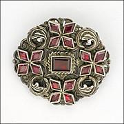 English Silver Almandine Garnet Pin - Decorative Back