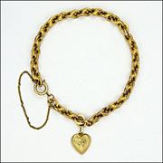 Victorian 9K Gold Heart Charm Bracelet -12.2 grams