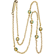 """Victorian 15K Gold Turquoise Necklace - 16"""" - 3.1 grams"""