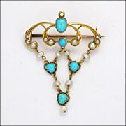 Edwardian Art Nouveau 9 Carat Gold Turquoise Pearl Pin/Pendant