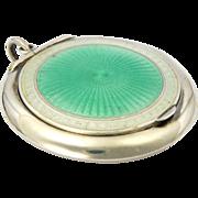English 1912 Silver Enamel Compact Pendant