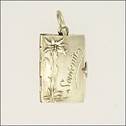 Edwardian 1903 Silver Eidelweiss Flower Booklet Charm
