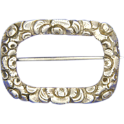 English Victorian 1840 Silver Engraved Pin