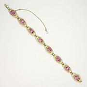 Austro-Hungarian Silver Enamel &  Pink Tourmaline Bracelet