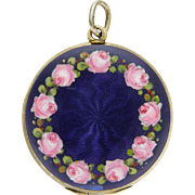 German or Austrian 935 Silver Enamel Roses Locket