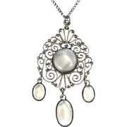 Scandinavian Moonstone and Silver Pendant Necklace