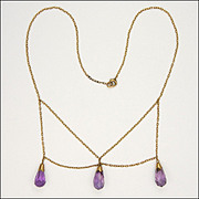 Edwardian 9K Rose Gold Amethyst Drop Necklace