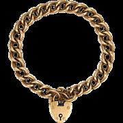 English Edwardian 9K Gold Rose Curb Bracelet - Heart Clasp