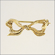 English 9K Gold Dainty Bow Pin - Hallmarked 1973