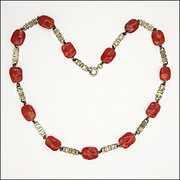 Scandinavian Silver Bows & Carnelian Glass Beads Necklace