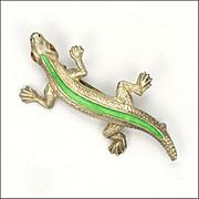 English Art Deco Silver Enamel Lizard Pin