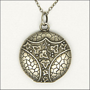 French Victorian Silver Ivy Locket Necklace