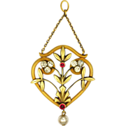 French Art Nouveau 18K Gold Filled Pendant with Pastes and Faux Pearl