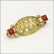 THEODOR FAHRNER -Germany - Art Deco Silver Gilt and Coral Pin