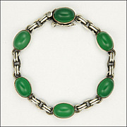 English Art Deco Sterling Silver Chrysoprase Agate Bracelet