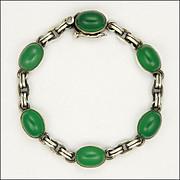 English Art Deco Sterling Silver Chrysoprase Agate Bracelet