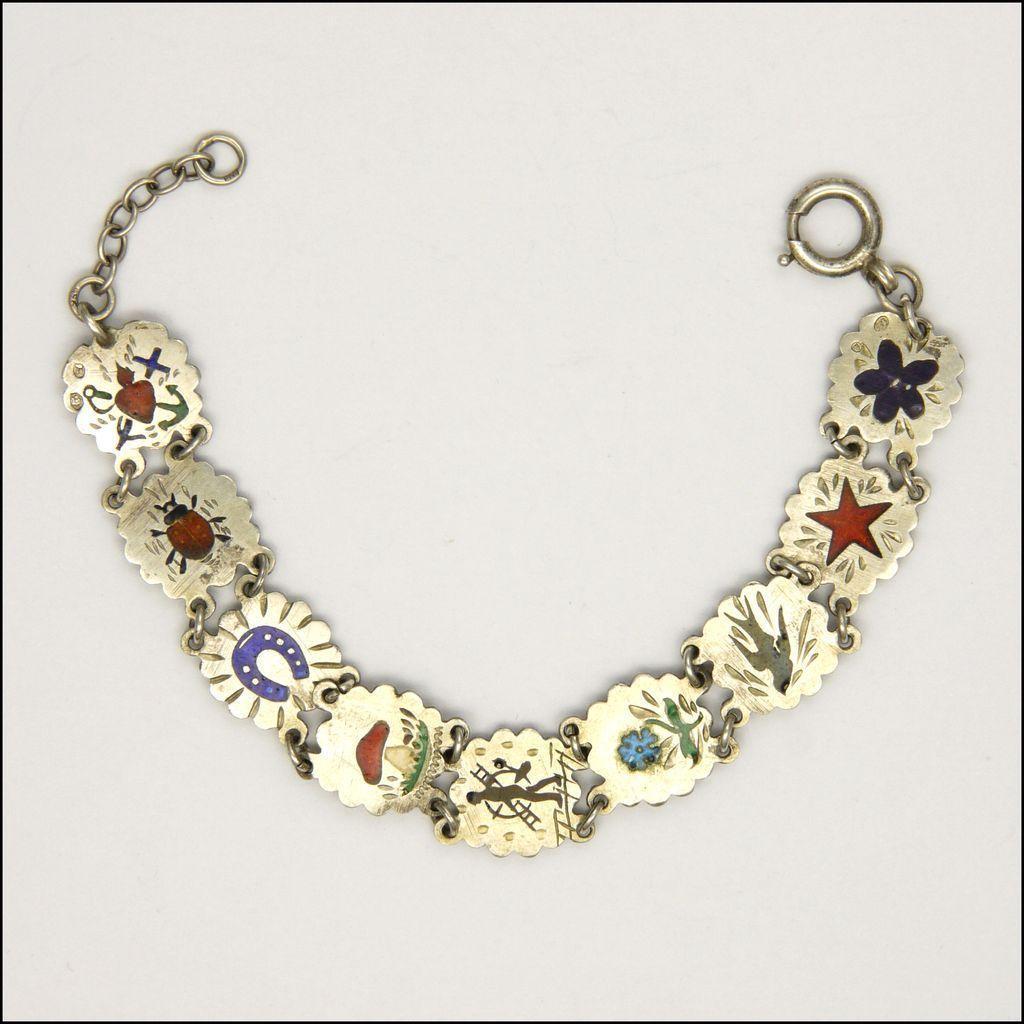 Enamel Charms For Bracelets: Austrian Circa 1920 Silver Enamel 'Lucky Charms' Bracelet