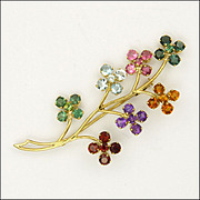 18K Gold & Gemstone Flower Spray Pin
