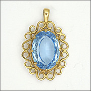 Blue Spinel Gemstone and 9K Gold Pendant