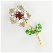 18K Yellow and White Gold Paste Flower Pin