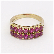 18K Gold and Double Row Ruby Ring - US size 6¼ and a UK size L½