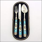 Victorian 1842 Sterling Silver & Porcelain Travelling Cutlery Set